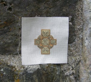 Celtic Cross Embroidery, photo take on Iona